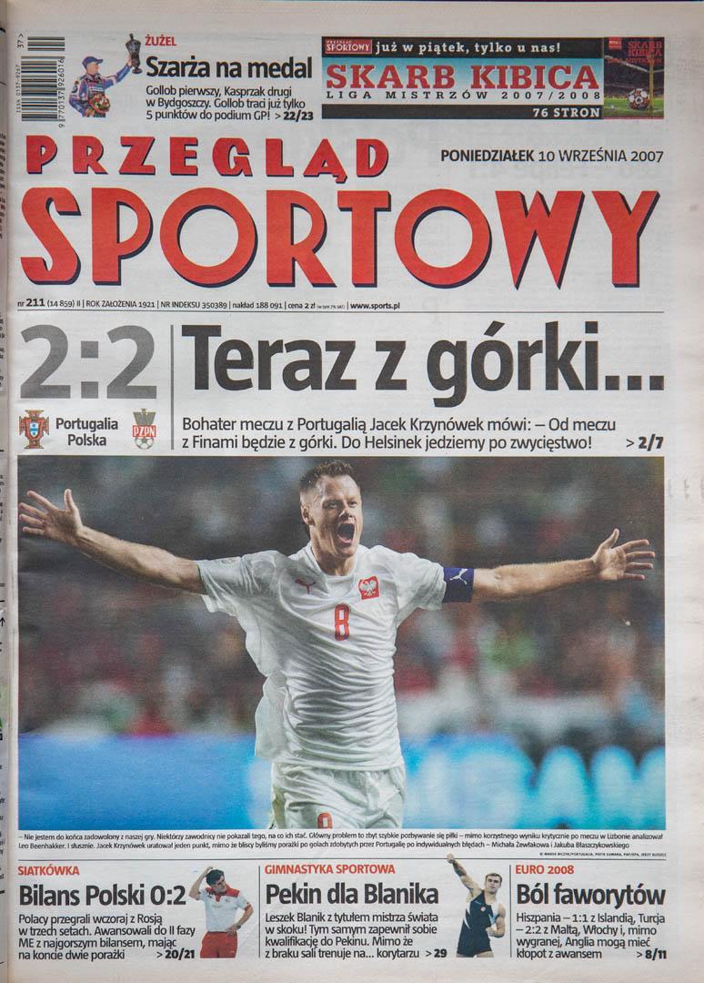 Okładka przeglądu sportowego po meczu Portugalia - Polska (08.09.2007)