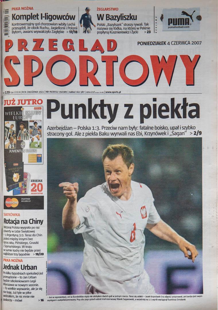 Okładka przeglądu sportowego po meczu Azerbejdżan - Polska (02.06.1997)