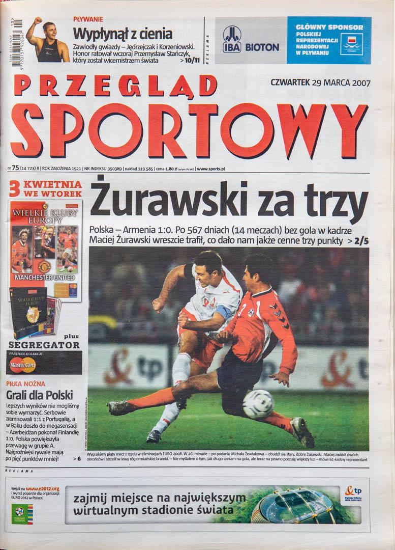 Okładka przeglądu sportowego po meczu Polska - Armenia (28.03.2007)