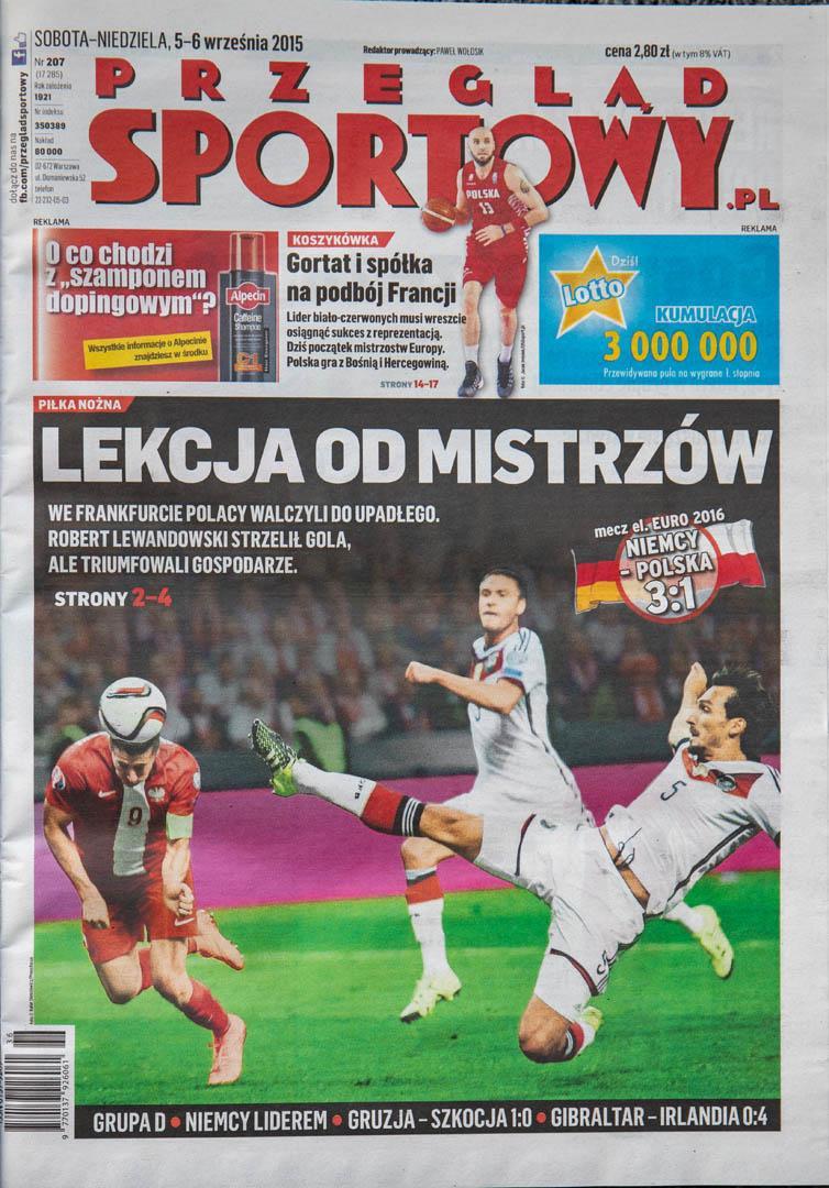 Okładka przeglądu sportowego po meczu Niemcy - Polska (04.09.2015)