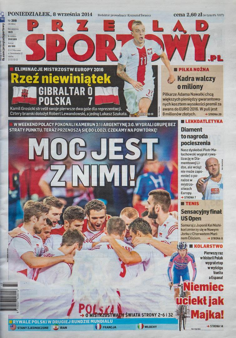 Okładka przeglądu sportowego po meczu Gibraltar - Polska (07.09.2014)