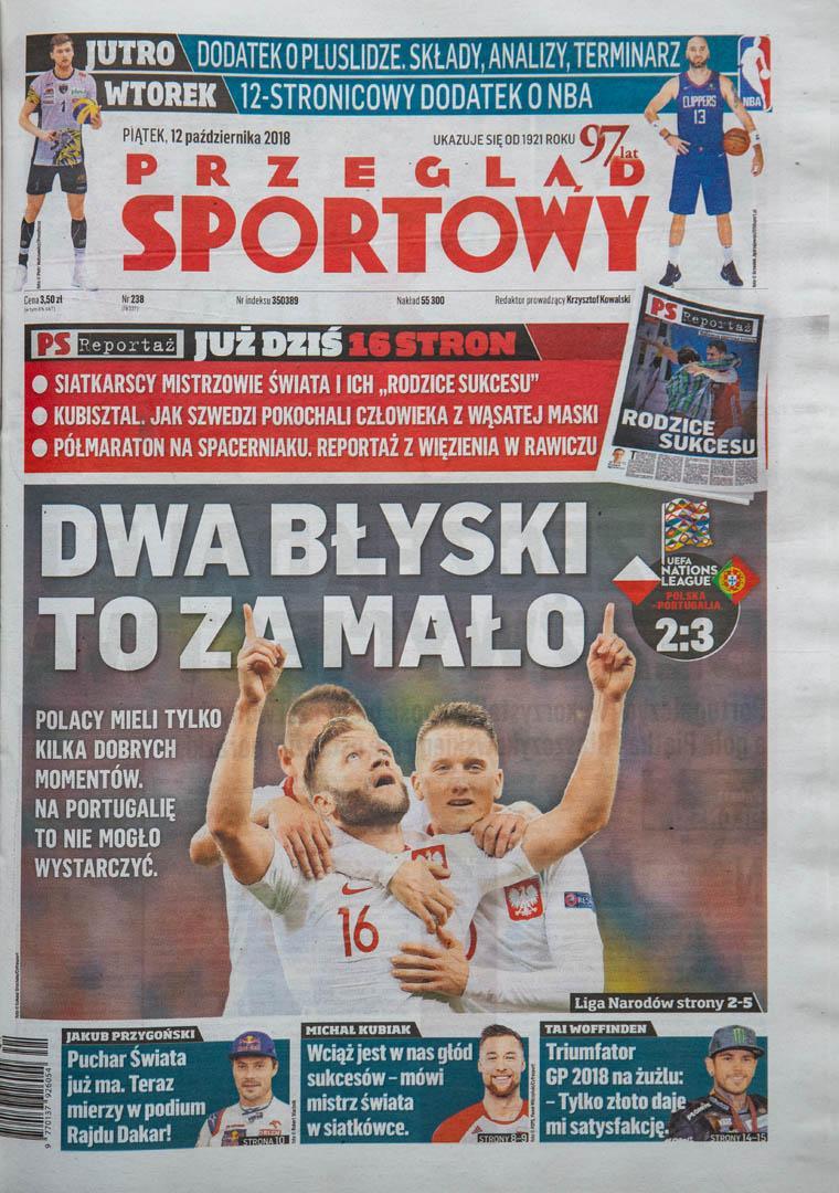 Okładka przeglądu sportowego po meczu Polska - Portugalia (11.10.2018)