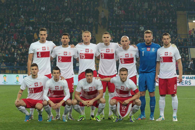 Reprezentacja Polski przed meczem z Ukrainą w Charkowie.