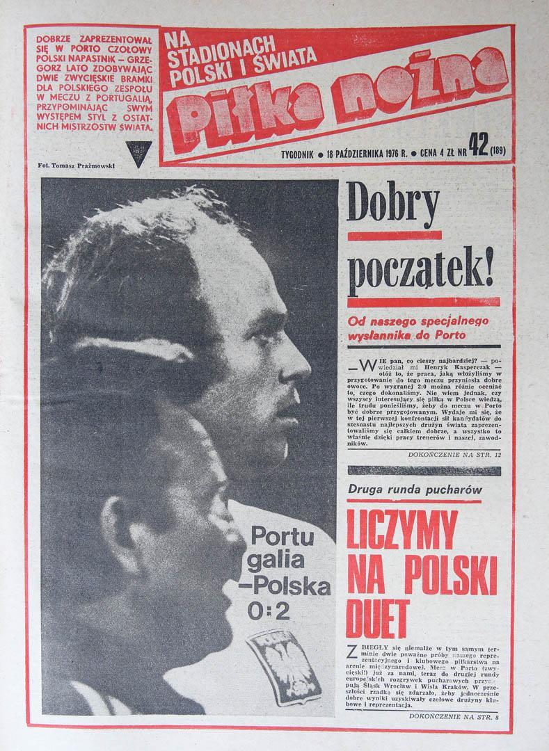 Okładka piłki nożnej po meczu Portugalia - Polska (16.10.1976)