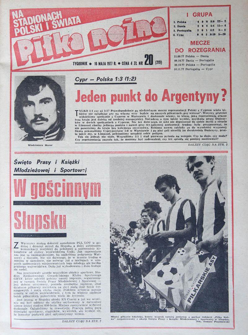 Okładka piłki nożnej po meczu Cypr - Polska (15.05.1977)