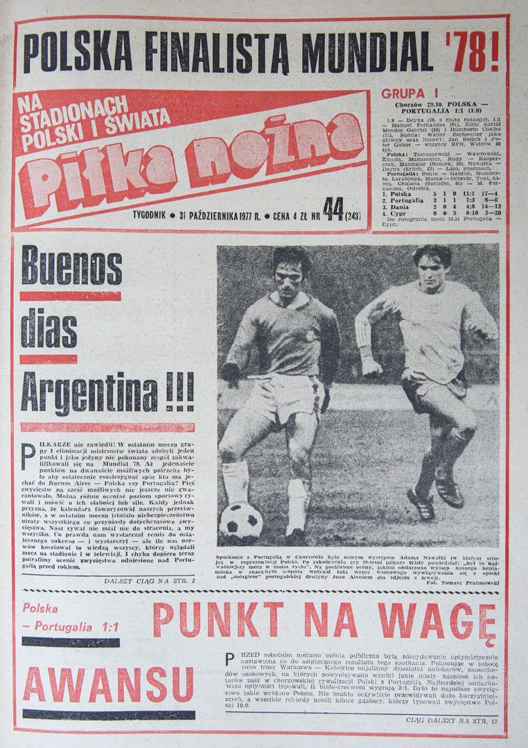 Okładka piłki nożnej po meczu Polska - Portugalia (29.10.1977)