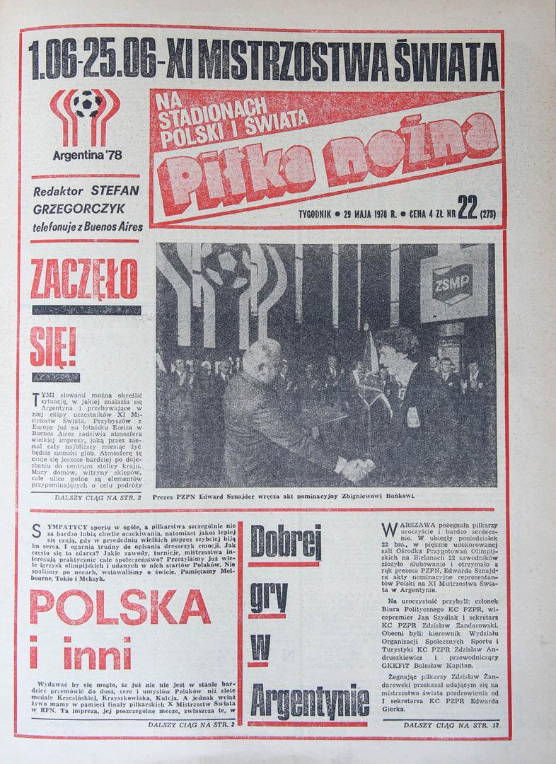 Okładka piłki nożnej przed meczem RFN - Polska (01.06.1978)