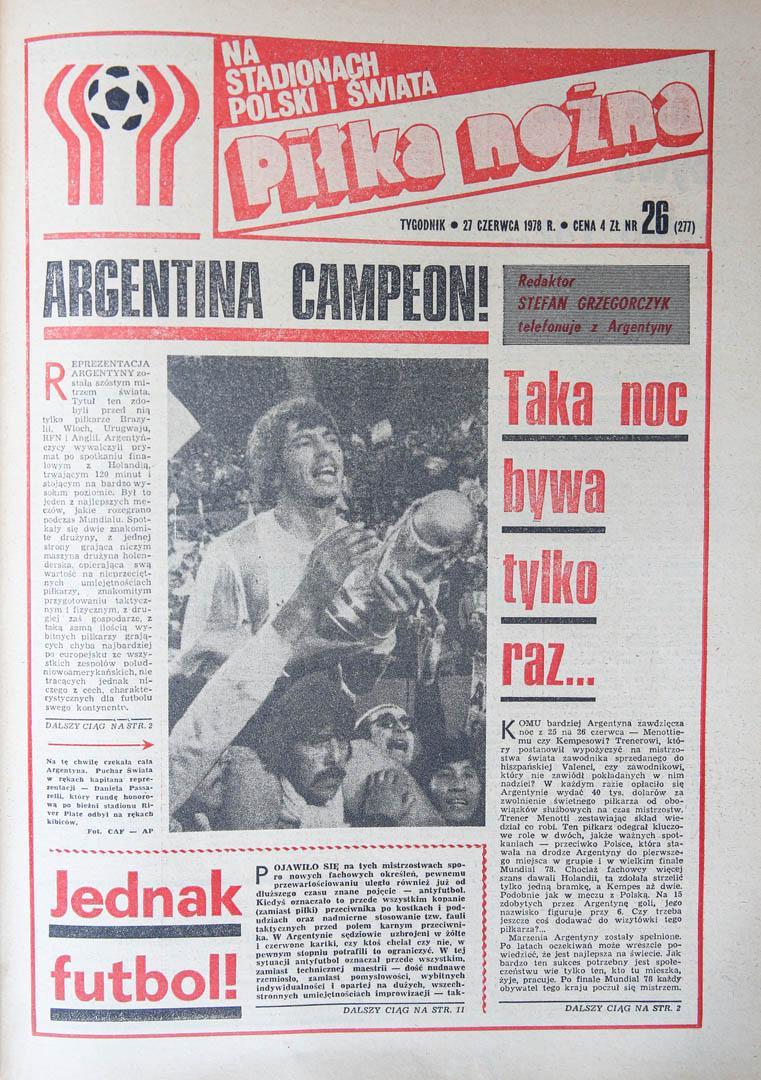 Okładka piłki nożnej po meczu Polska - Brazylia (21.06.1978)