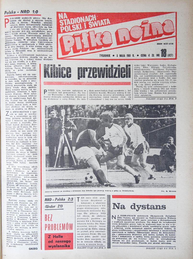 Okładka piłki nożnej po meczu Polska - NRD