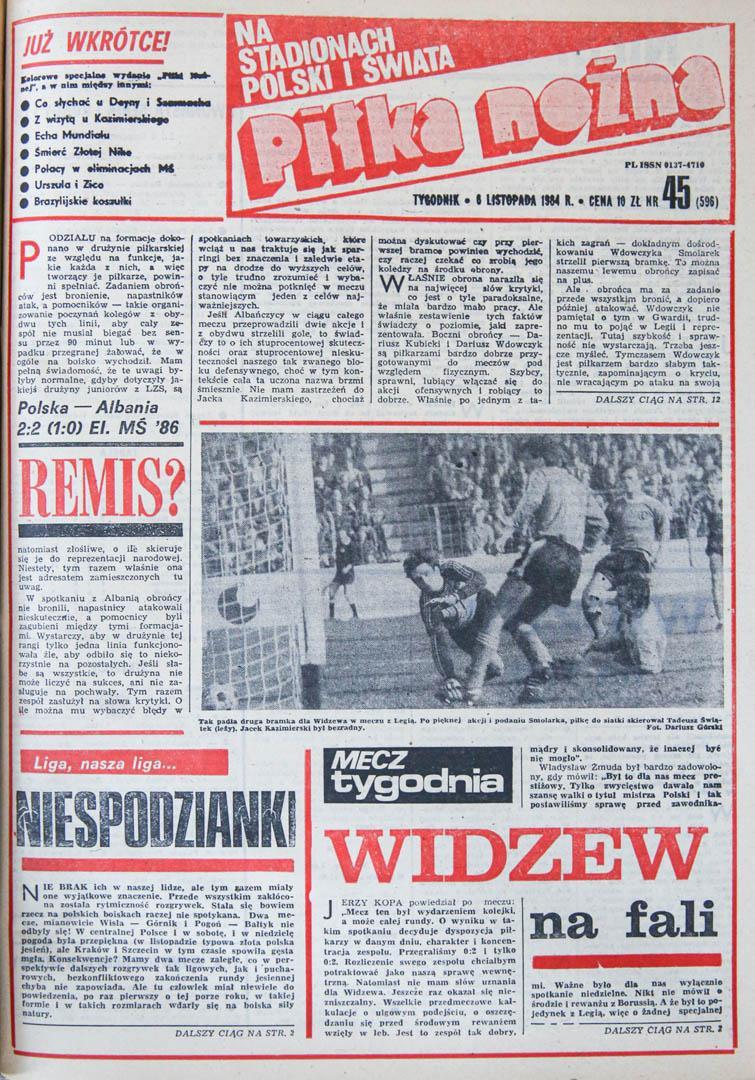 Okładka Piłki Nożnej po meczu Polska - Albania (31.10.1984)