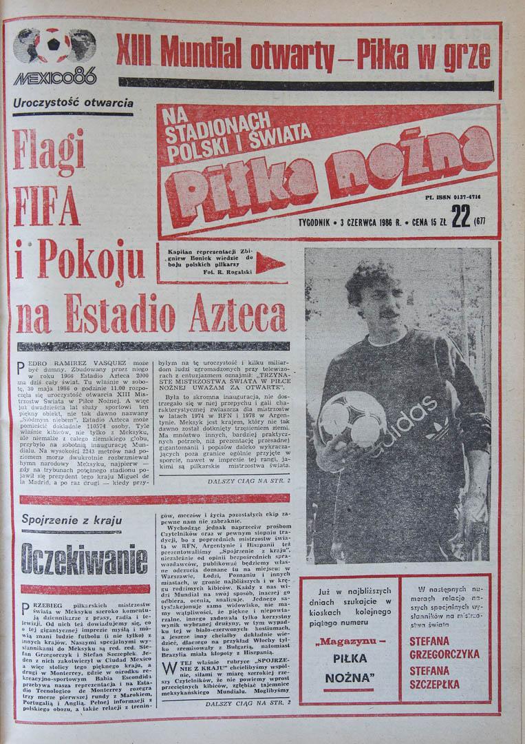 okładka piłki nożnej przed meczem Polska - Maroko (02.06.1986)