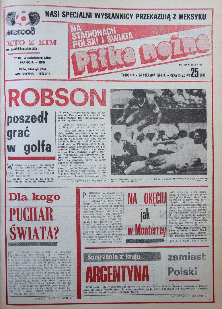 Okładka piłki nożnej po meczu powrocie reprezentacji z mundialu 1986