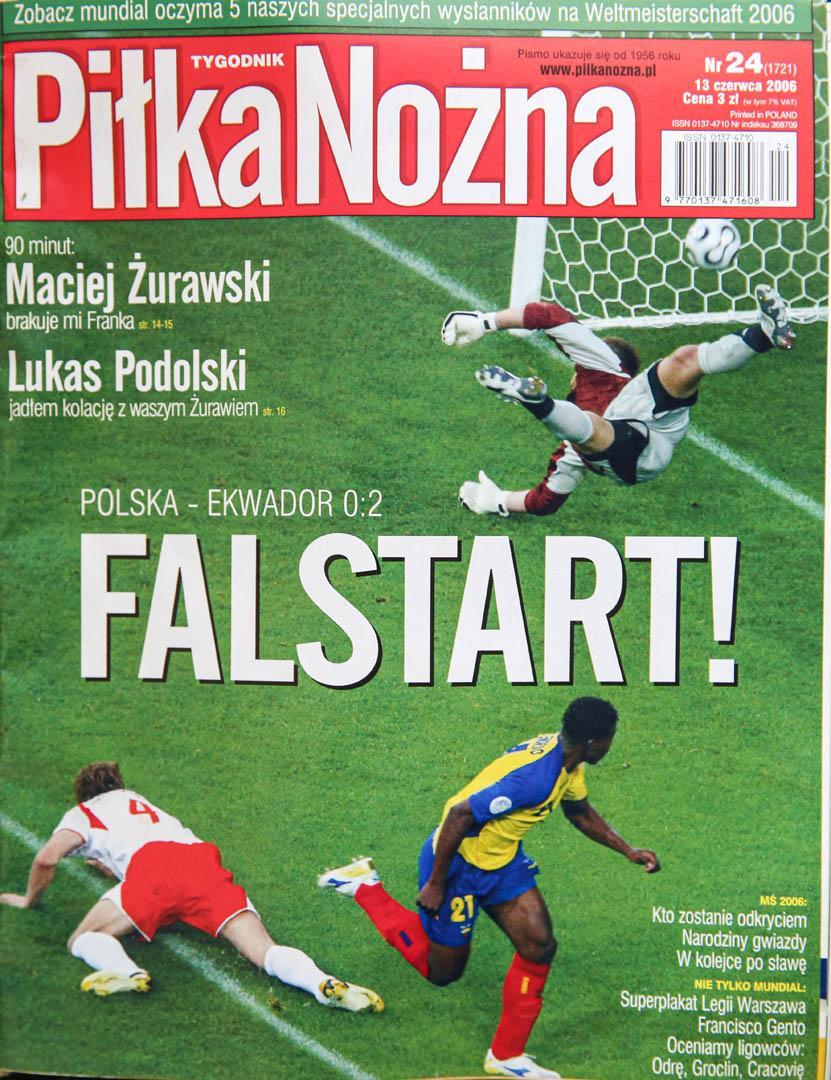 Okładka piłki nożnej po meczu Polska - Ekwador (09.06.2006)