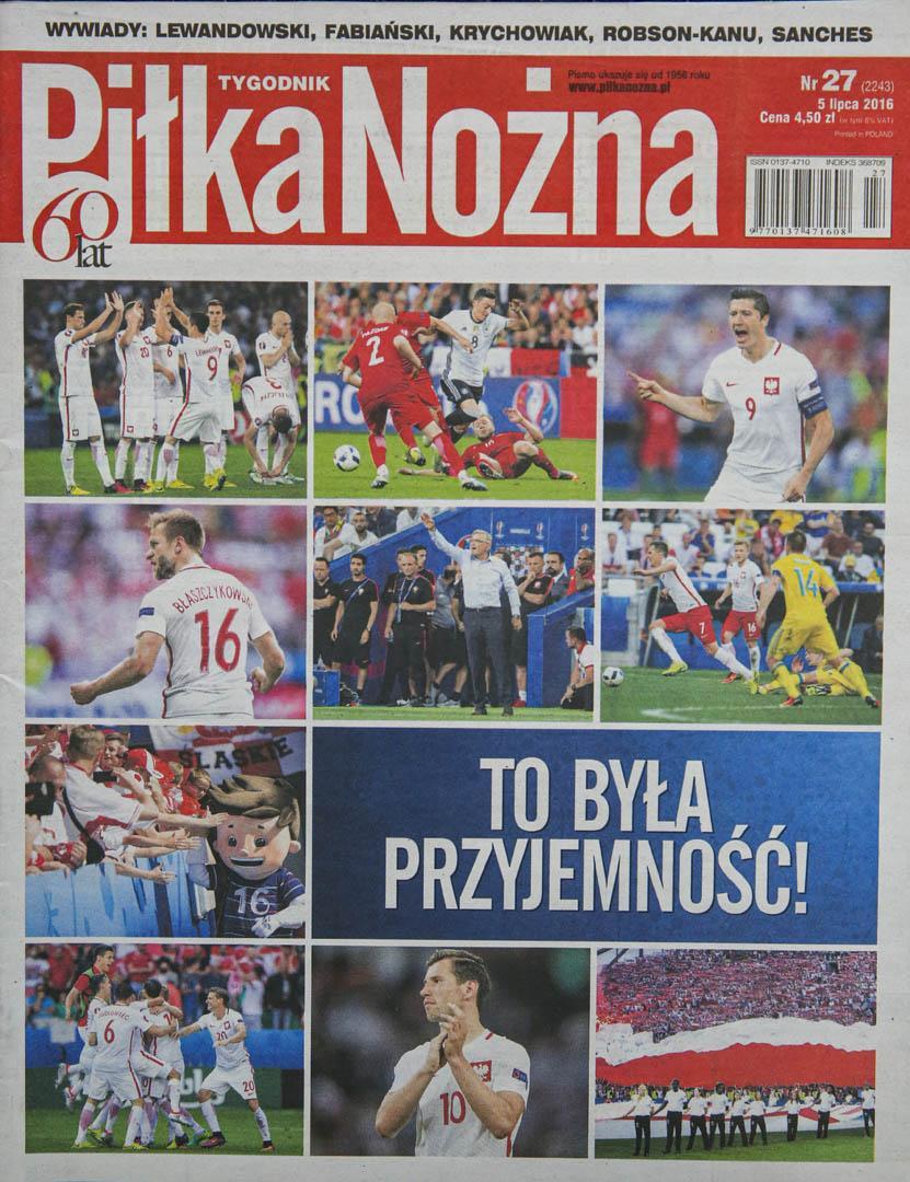 Okładka piłki nożnej po meczu Polska - Portugalia (30.06.2016)