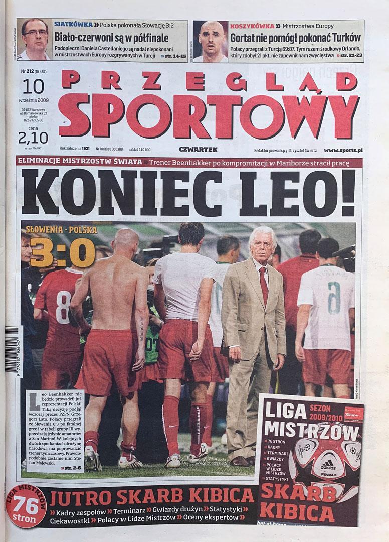 Okładka przeglądu sportowego po meczu Słowenia - Polska (09.09.2009)