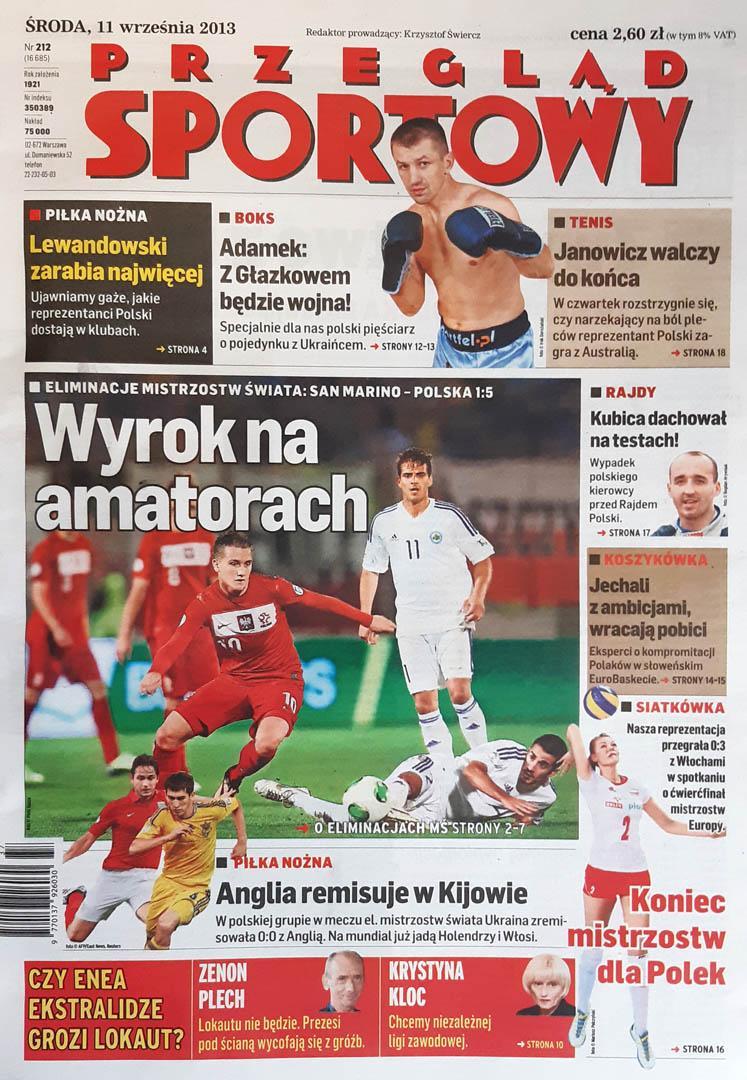 Okładka przeglądu sportowego po meczu San Marino - Polska (10.09.2013)