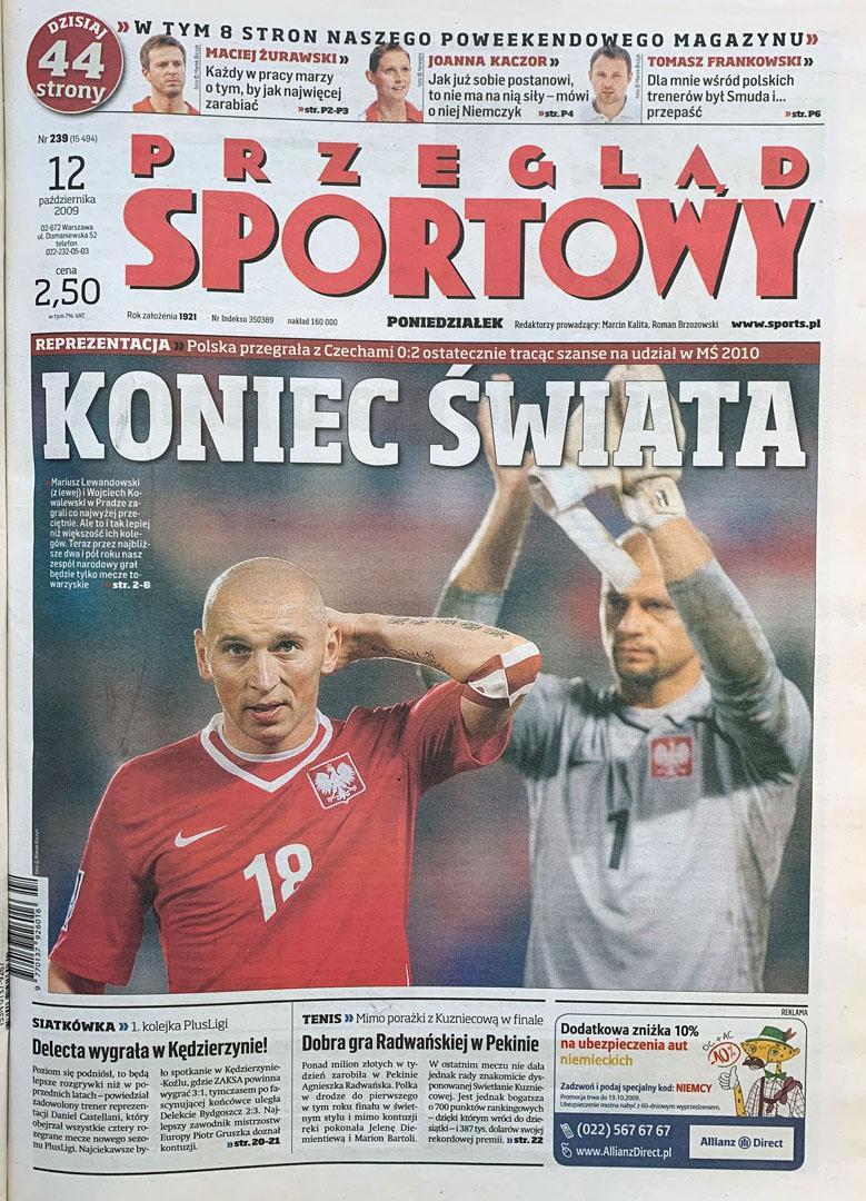 Okładka przeglądu sportowego po meczu czechy - polska (10.10.2009)