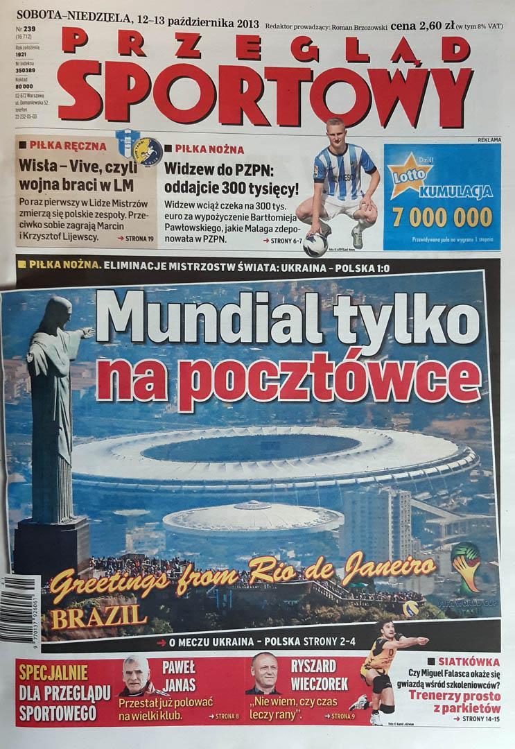 Okładka przeglądu sportowego po meczu Ukraina - Polska (11.10.2013)