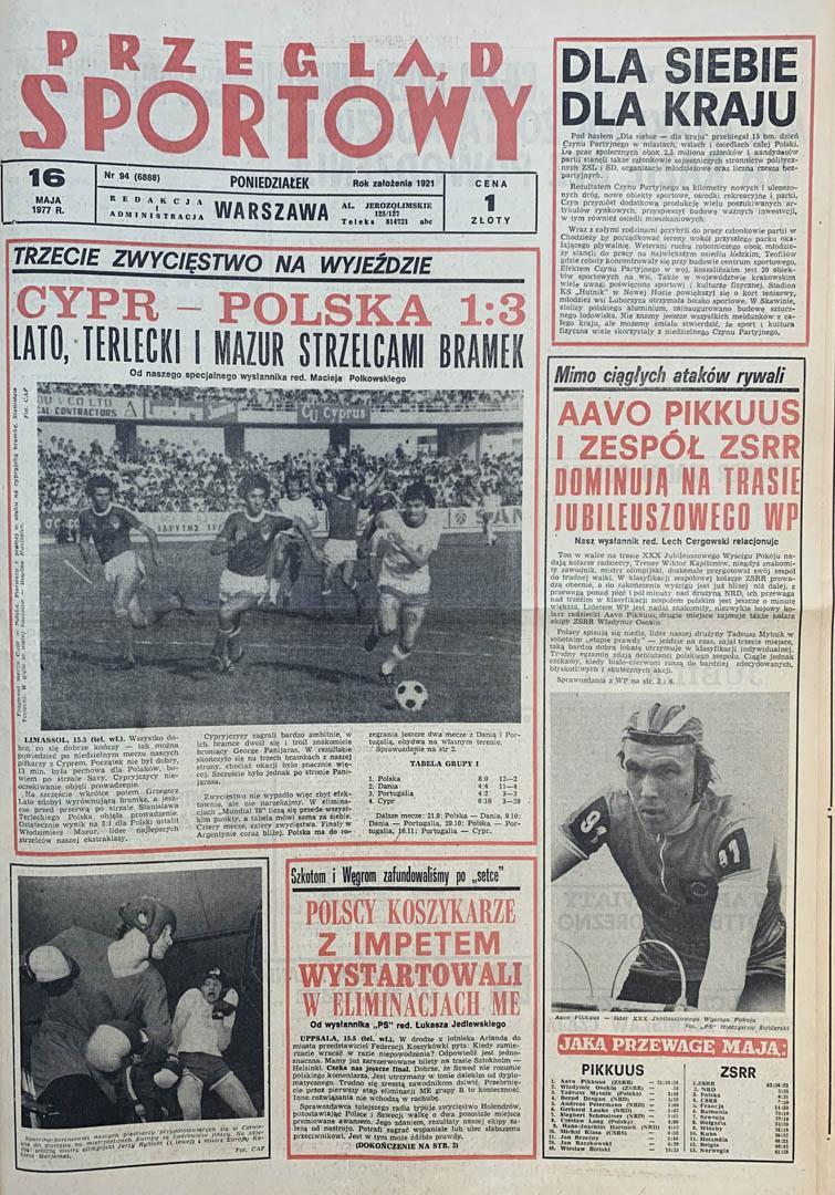 Okładka przeglądu sportowego po meczu Cypr - Polska (15.05.1977)