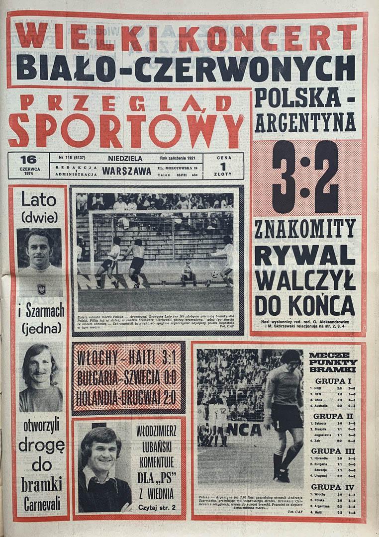 Okładka przeglądu sportowego po meczu Polska - Argentyna (15.06.1974)