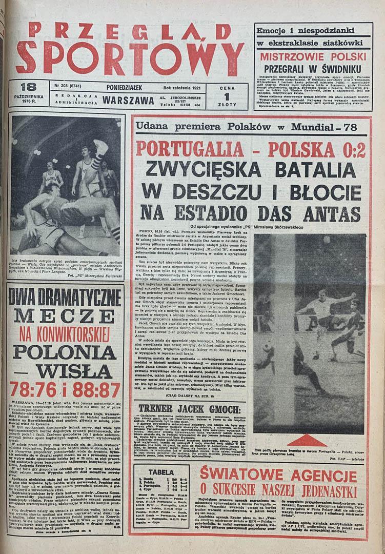 Okładka przeglądu sportowego po meczu Portugalia - Polska (16.10.1976)