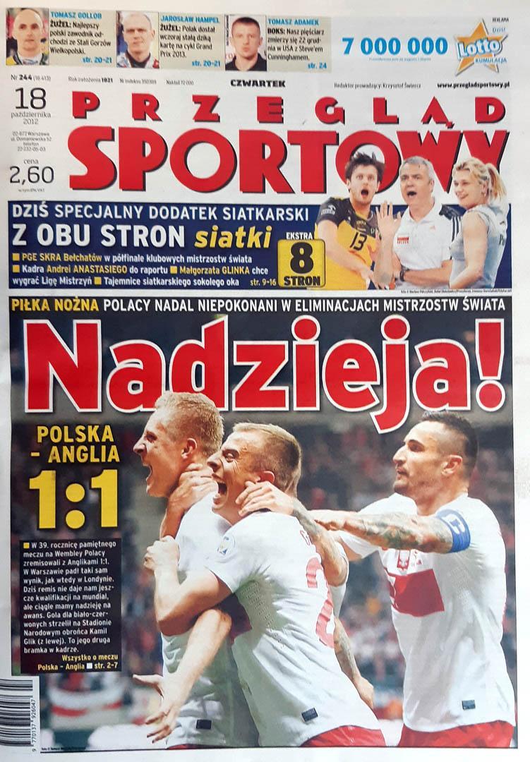 Okładka przeglądu sportowego po meczu Anglia - Polska 1:1 (17.10.2012)
