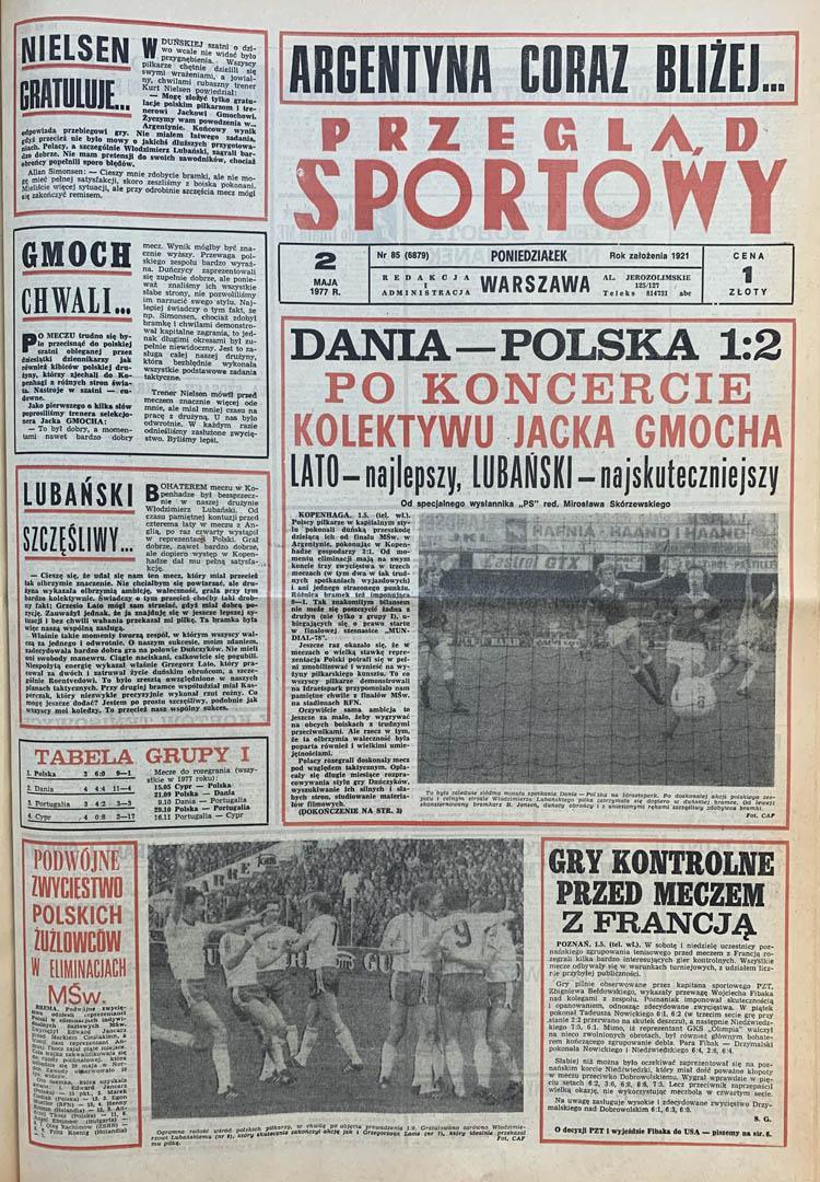 Okładka przeglądu sportowego po meczu Dania - Polska  (01.05.1977)