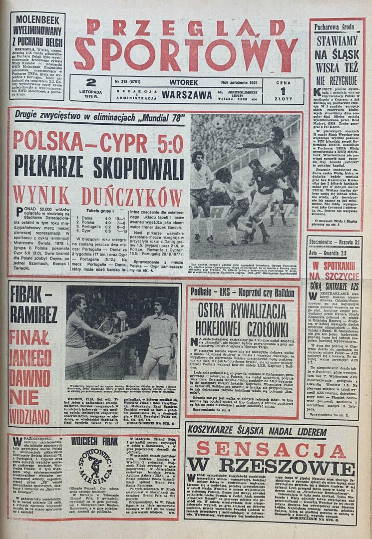 Okładka przeglądu sportowego po meczu Polska - Cypr (31.10.1976)