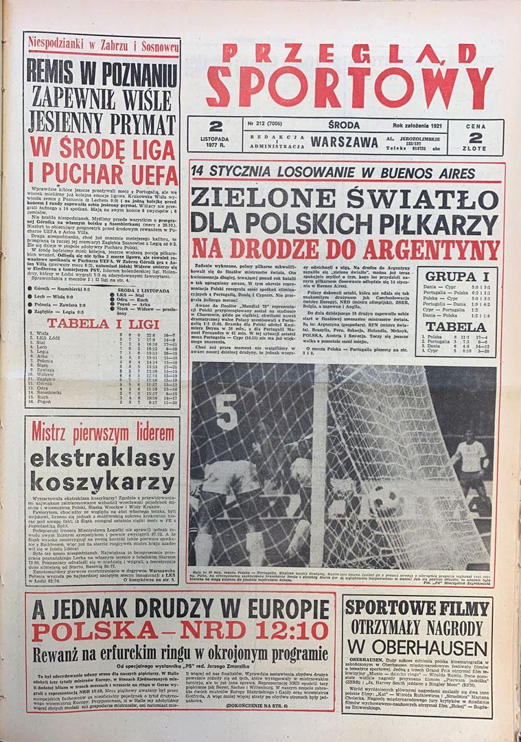 Okładka przeglądu sportowego po meczu Polska - Portugalia (29.10.1977)