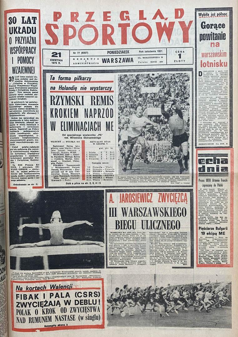 Okładka przeglądu sportowego po meczu Włochy - Polska (19.04.1975)
