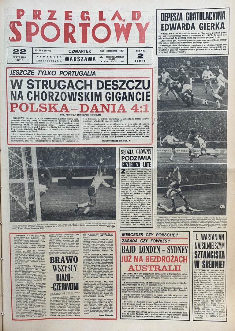 Okładka przeglądu sportowego po meczu Polska - Dania (21.09.1977)