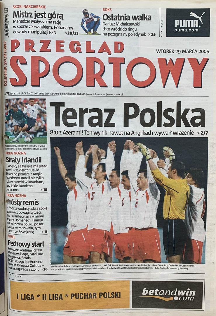 Okładka przeglądu sportowego po meczu Polska - Azerbejdżan (26.03.2005)