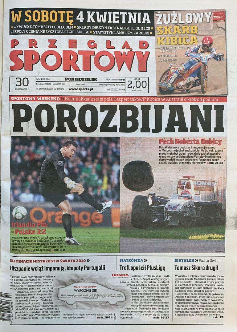 Okładka przeglądu sportowego po meczu Irlandia Płn. - Polska (28.03.2009)