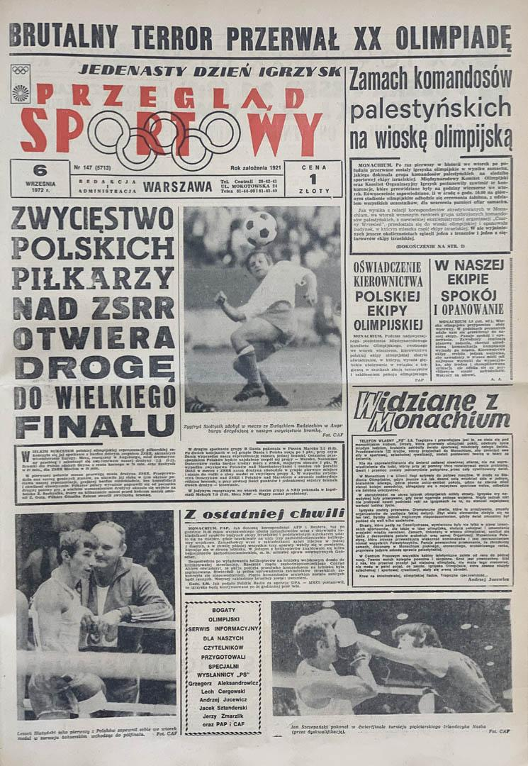 Okładka przeglądu sportowego po meczu Polska - ZSRR (05.09.1972)