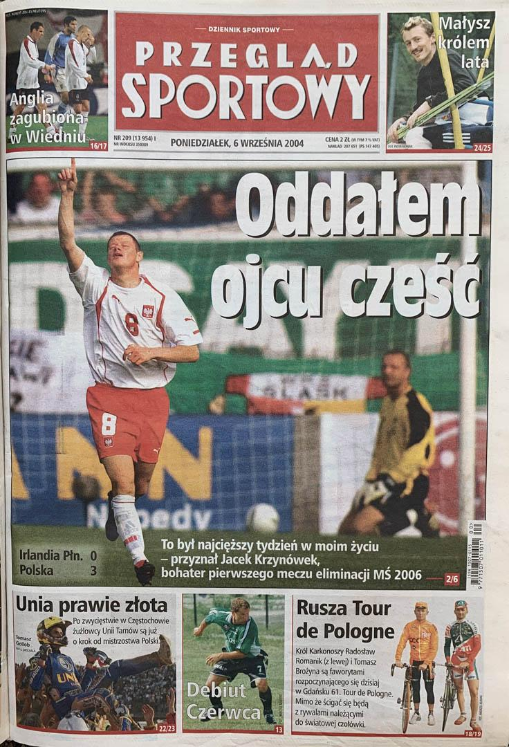 Okładka przeglądu sportowego po meczu Irlandia Płn. - Polska (04.09.2004)