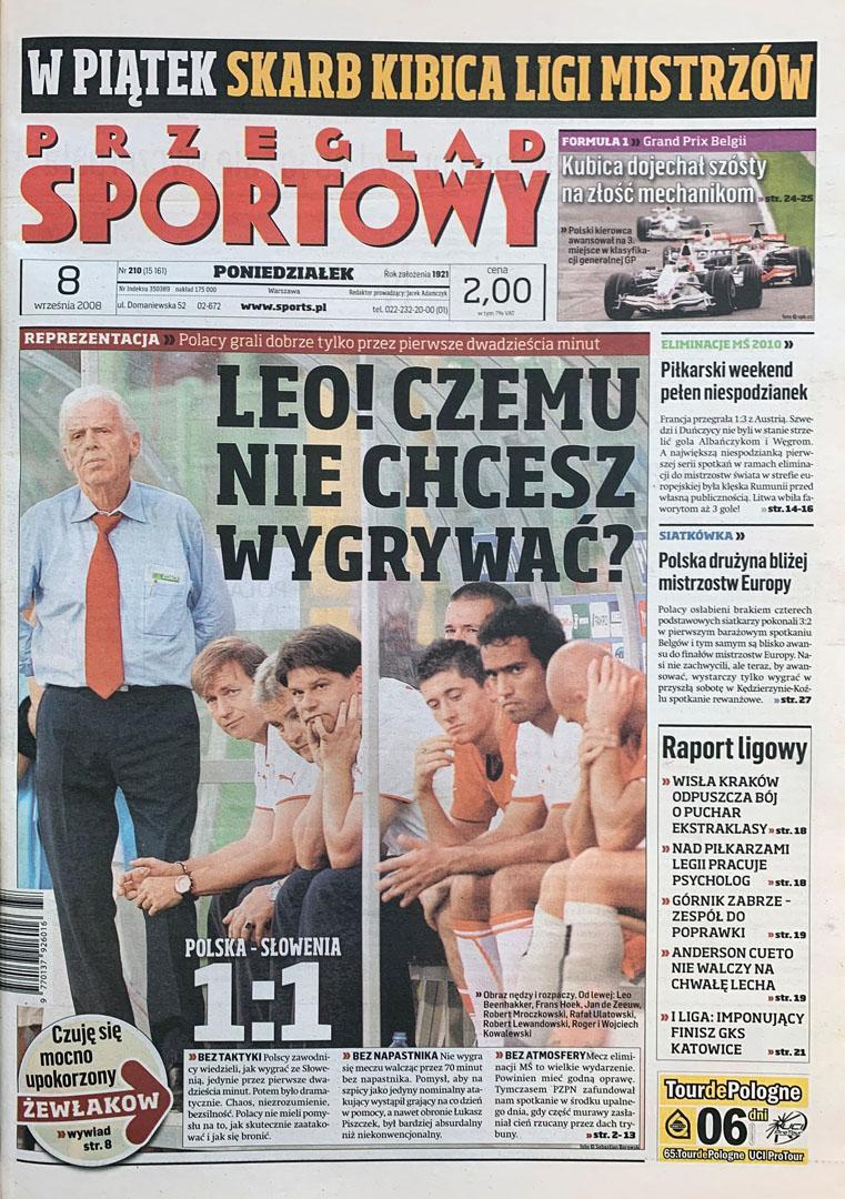 Okładka przeglądu sportowego po meczu Polska - Słowenia (06.09.2008)