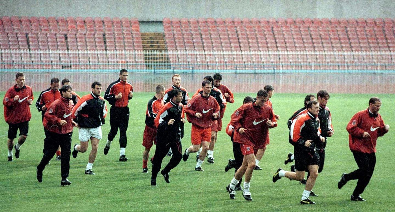 Oficjalny trening reprezentacji Polski na stadionie San Paolo w Neapolu w 1997 roku.