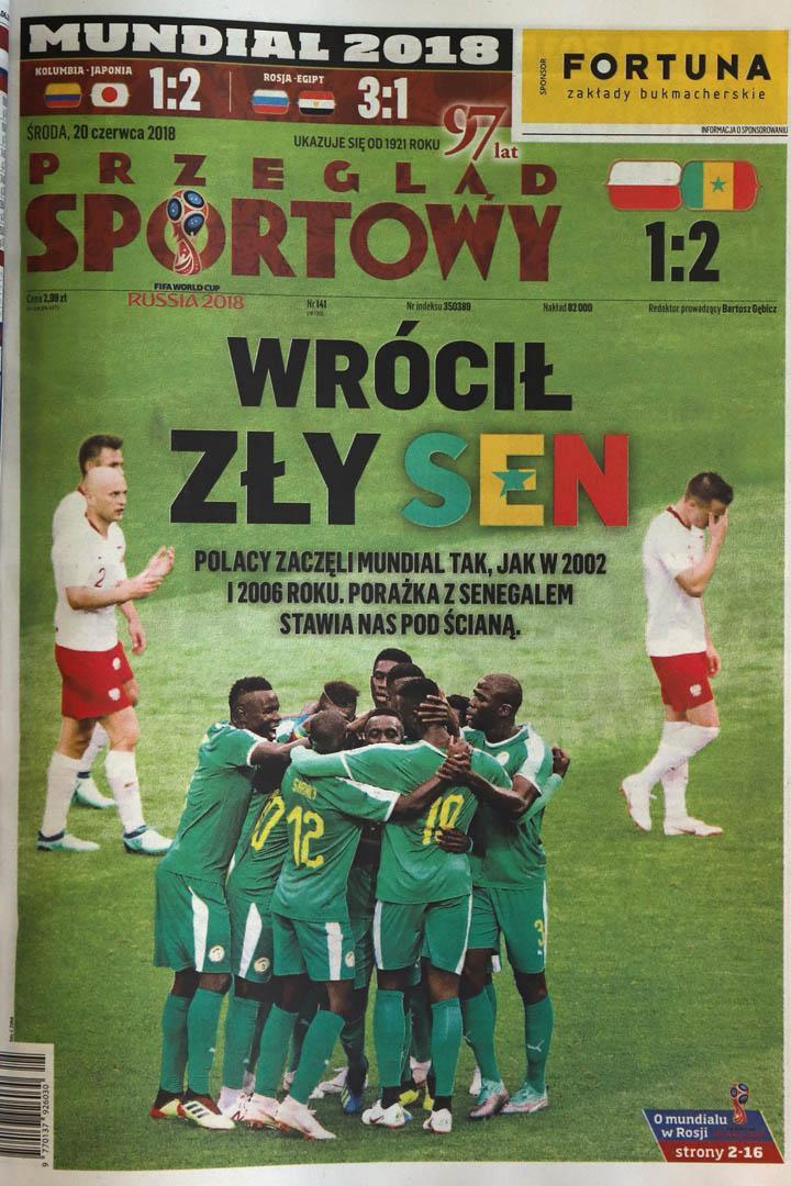 Okładka przeglądu sportowego po meczu Polska - Senegal (19.06.2018)