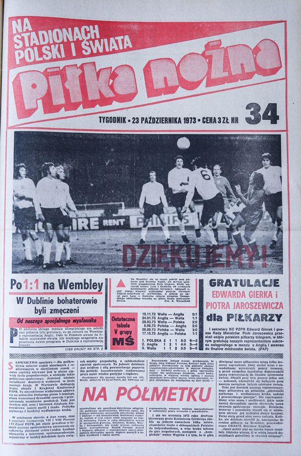 Okładka piłki nożnej po meczu Anglia - Polska (17.10.1973)