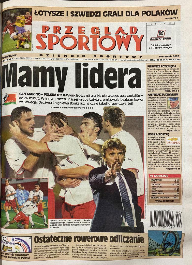 Okładka przeglądu sportowego po meczu San Marino - Polska (07.09.2002)