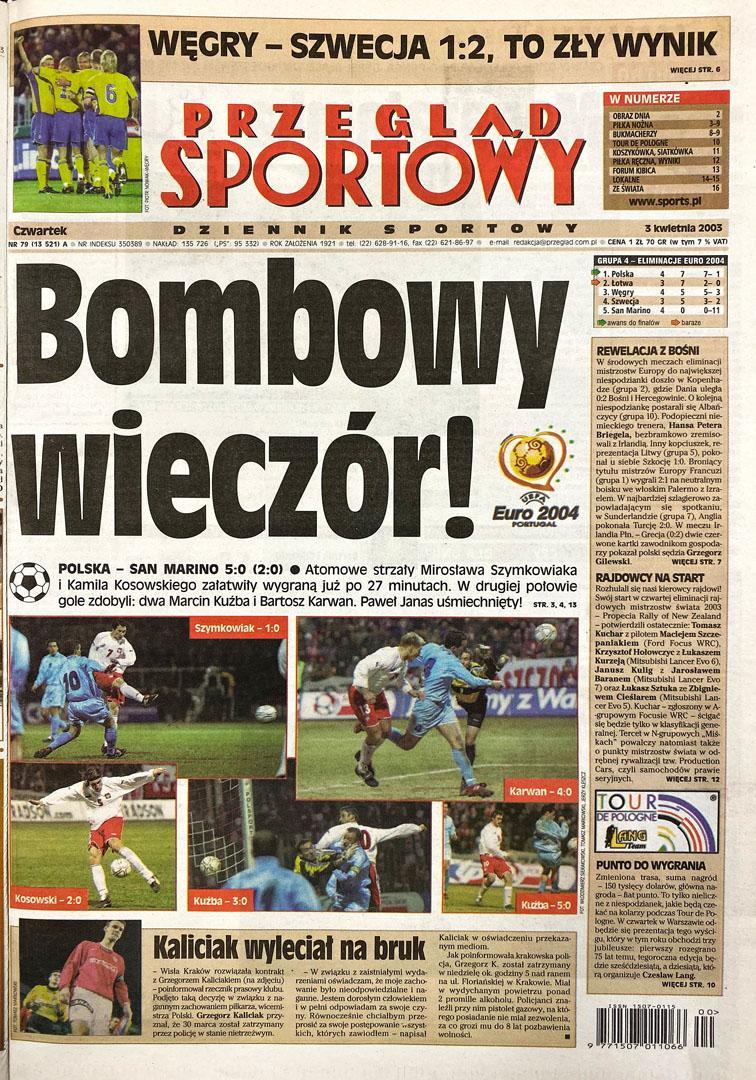 Okładka przeglądu sportowego po meczu Polska - San Marino (4.04.2003)