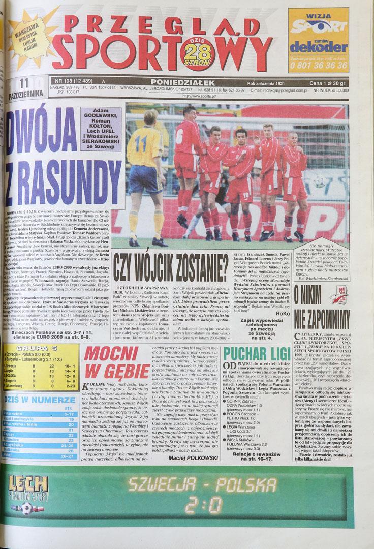 Okładka przeglądu sportowego po meczu Szwecja - Polska (09.10.1999)
