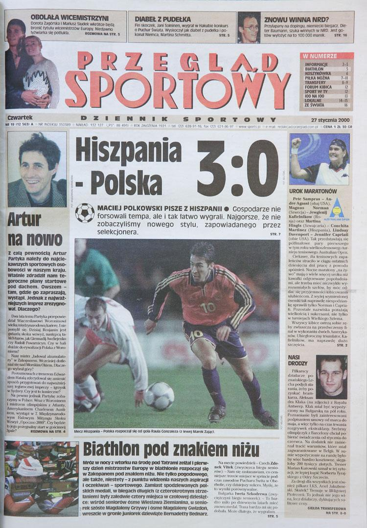 Okładka przeglądu sportowego po meczu Hiszpania - Polska (26.01.2000)