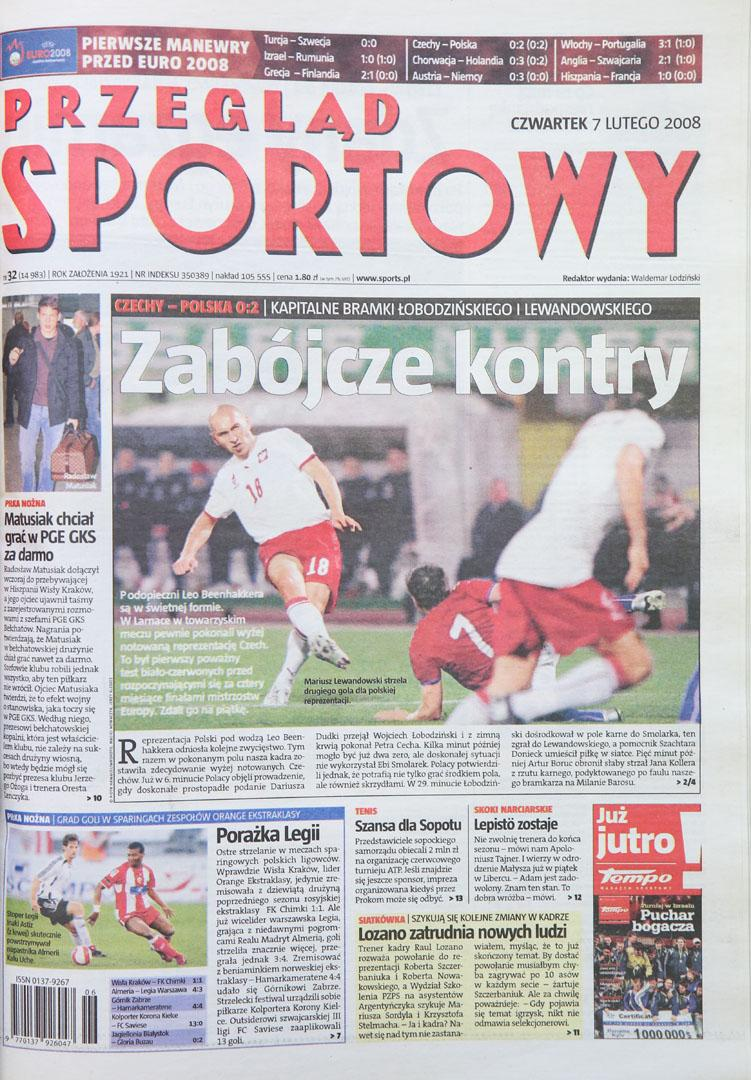 Okładka przeglądu sportowego po meczu Czechy - Polska (06.02.2008)