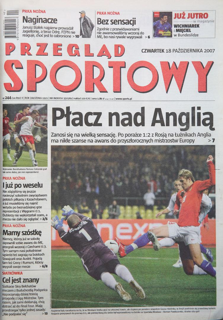 Okładka przeglądu sportowego po meczu Polska - Węgry (17.10.2007)