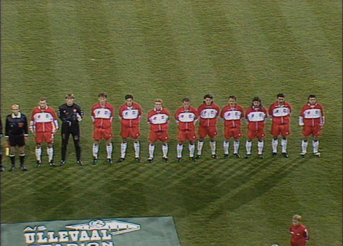 Reprezentacja Polski przed meczem z Norwegią w 1993 roku.