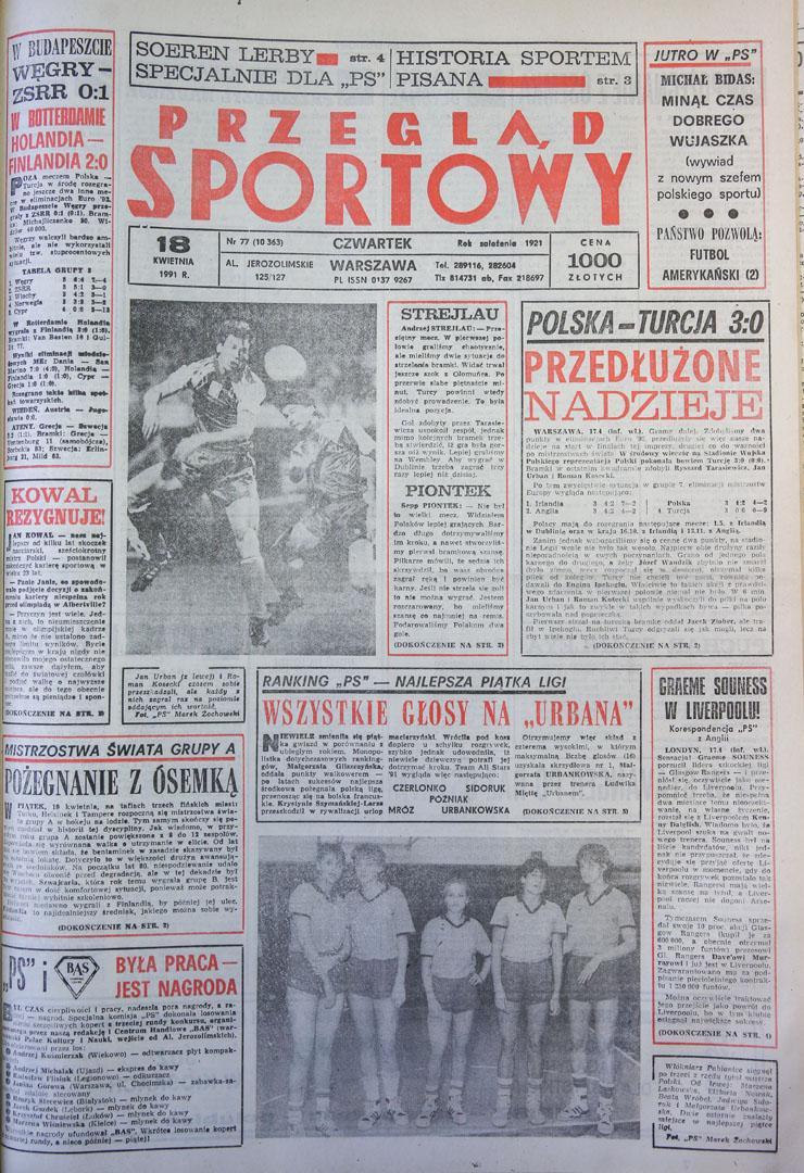 Okładka przeglądu sportowego po meczu Polska - Turcja (17.04.1991)