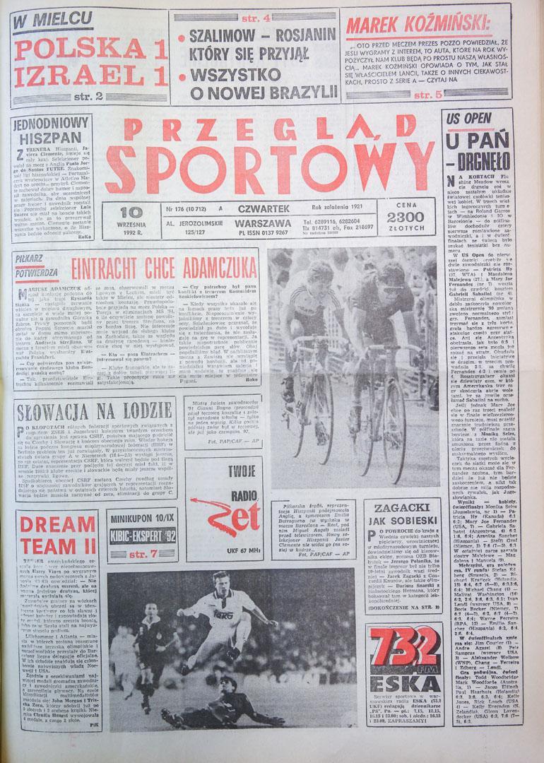 Okładka przeglądu sportowego po meczu Polska - Izrael (09.09.1992)