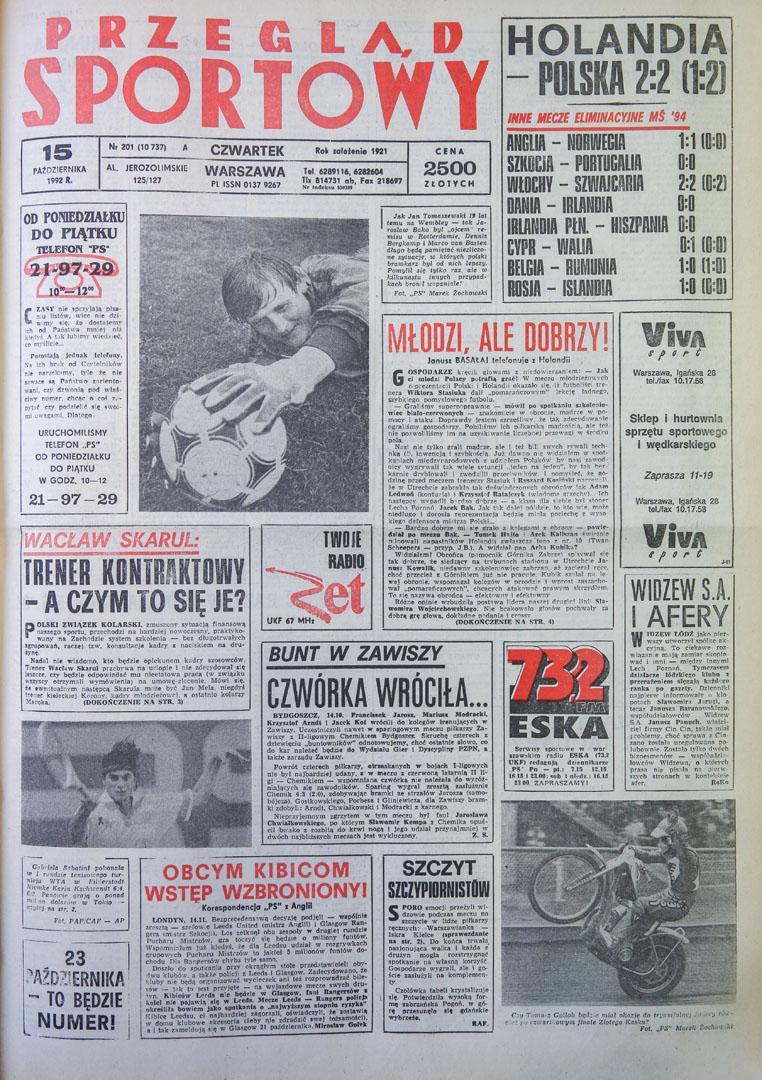 Okładka przeglądu sportowego po meczu Holandia - Polska (14.10.1992)