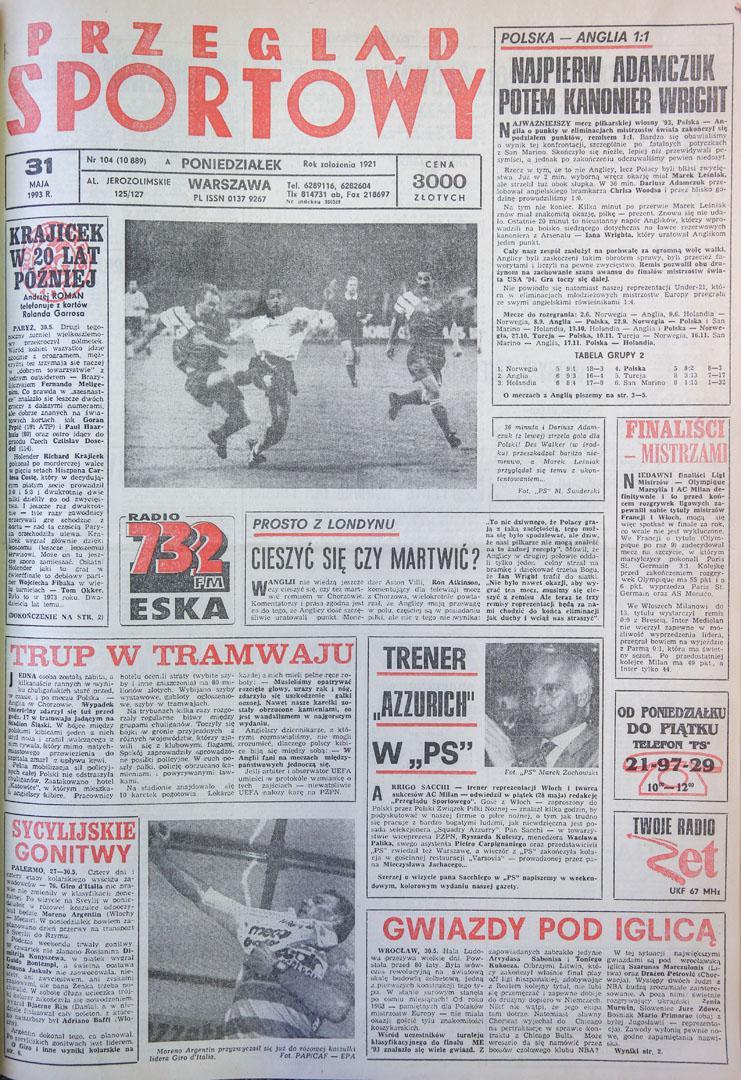 Okładka przegladu sportowego po meczu Polska - Anglia (29.05.1993)